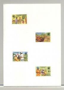 Dominica #796-799 Bananas, Food, Road Construction 4v Imperf Proofs in Folder