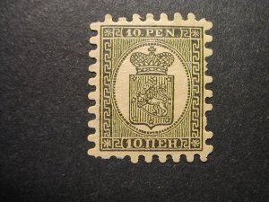 Finland, Scott #8 reprint, Facit #7E, regummed, with flaws, with Certificate