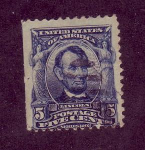 304 Used,  5c. Lincoln,  scv: $2.25