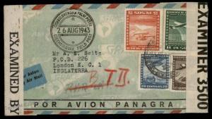 Chile Panagra Airmail Czech Legion England Cover Polni Posta Feldpost 72192