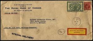 CANADA 1946 Special Delivery Express cover Windor, Ont to Detroit..........20086