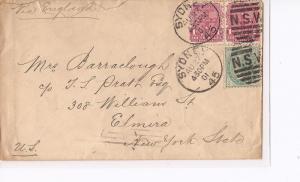 New South Wales 1901 QV cover to NY, USA (bai)