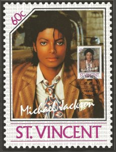 ST VINCENT STAMP,1985 MICHAEL JACKSON 60C STAMP.FIRST DAY OF ISSUE.MAXI CARD
