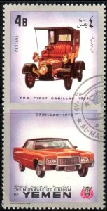 Antique Car, Cadillac 1970 & The First Cadillac 1904, Yemen stamp used