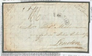 GIBRALTAR Framed Curve Cancel Forwarded London Hand Illustrated 1838 O17
