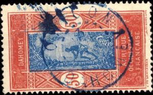 DAHOMEY -  CAD DOUBLE CERCLE BOHICON / DAHOMEY EN BLEU SUR N°74