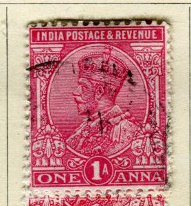 INDIA; 1911-13 early GV portrait issue fine used 1a. value