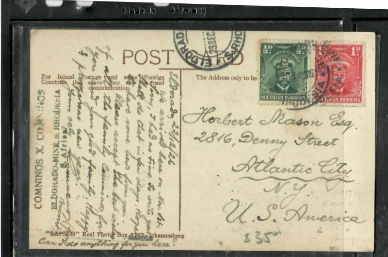 SOUTHERN RHODESIA (P3005B) 1926 KGV ADMIRAL 1/D+1D ON PPC TO USA