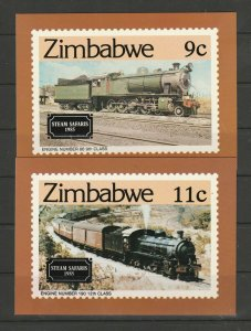Zimbabwe 1985 set of 4 postcards for Trains, with stamps First day on reverse