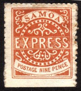 1877, Samoa 9p, MH HR, High value, Sc 5