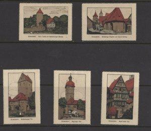 Germany - Lot of 5 Dinkelsbuehl Landmarks NG