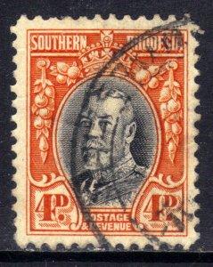 Southern Rhodesia 1931 - 37  KGV 4d Black & Vermilion used SG 19 Perfs 12 ( D...