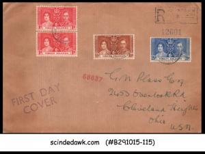 VIRGIN ISLANDS - 1937 KGVI CORONATION - 4-STAMPS - FDC REGISTERED