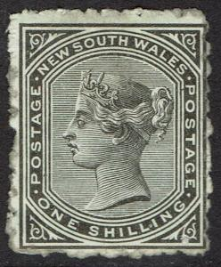 NEW SOUTH WALES 1882 QV 1/- WMK CROWN/NSW SG W40 ROUGH PERF 10