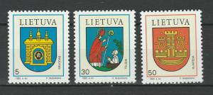 Lithuania 1993 Coat of Arms 3 MNH stamps