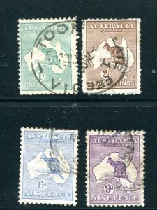 Australia #8,9,51b,52 Used F-VF