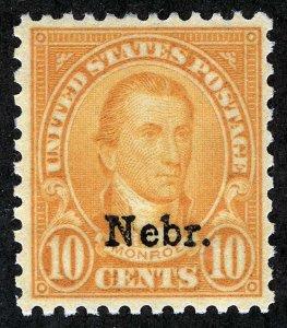 US Sc 679 Orange Yellow 10¢ NEBR. Overprint MNH Original Gum