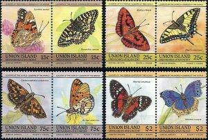 1985 Union Islands Butterflies, Papillons complete set VF/MNH! LOOK!