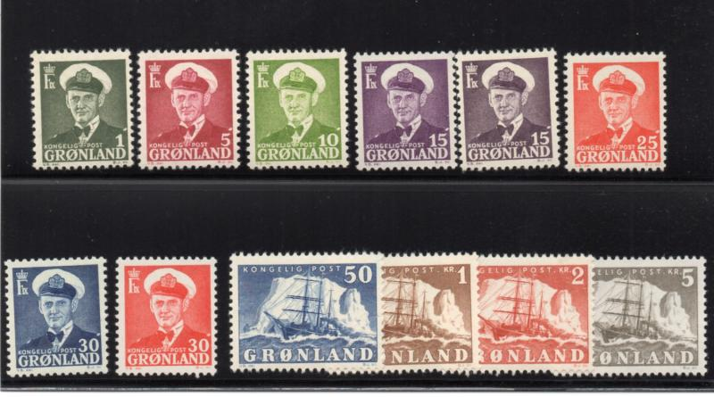 Greenland Sc 28-38,31a 1950 Frederik IX Ship long stamp set mint