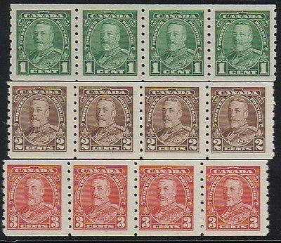 Canada #228-230  Strips of 4   Mint VF NH