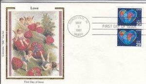 1991, 29c Love, Colorano Silk, FDC (D15679)