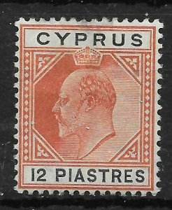 CYPRUS SG69 1906 12pi CHESTNUT & BLACK MTD MINT - THIN