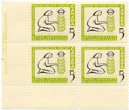 Canada - 1959 5c Country Women Plate Blocks mint #385