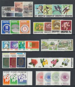 Singapore Sc 292/415 MNH. 1978-83 issues, 10 complete sets, fresh, bright, VF.