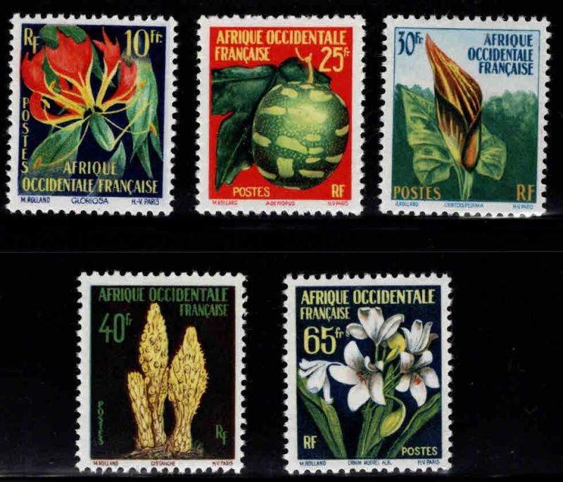 French West Africa Scott 79-83 MH* FOA Flower stamp set