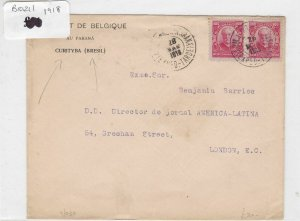 brazil 1918 stamps cover Ref 8977