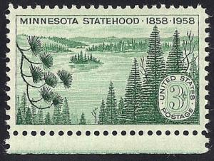1106 3 cent Minnesota State mint OG NH EGRADED SUPERB 98 XXF