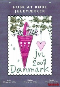 Denmark. Christmas Seal. 2009. 1 Post Office,Display,Advertising Sign.Decoration