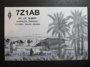 10234 Amateur Radio QSL Card AMERICAN EMBASSY RIYADH SAUDI ARABIA
