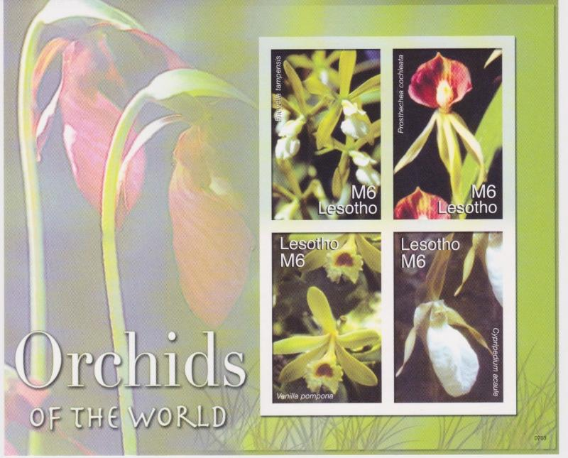 Lesotho - Orchids, Flowers, 2007 - Sc 1418 Sheetlet of 4 MNH - IMPERFORATE