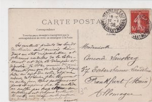 France Fontainebleau 1908 Inaug Picture Stamps Post Card to Frankfurt Ref 32147