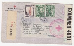 PERU, 1942 Registered censored cover to Red Cross, Geneva, Switzerland.