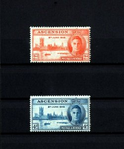 ASCENSION - 1946 - KG VI - PEACE ISSUE - WW II - # 2 - MINT MNH SET OF 2!