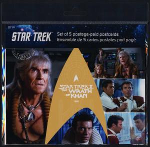 Canada UX471-5 Set of 5 Prepaid Postcards - Star Trek, The Wrath of Khan