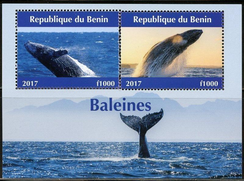 BENIN 2017  WHALES  SHEET OF TWO MINT NH