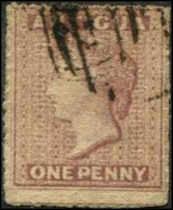 Antigua SC# 2 SG# 6 Victoria 1d wmk 5 Dull Rose Used