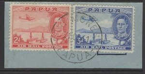 PAPUA SG163/4 1939 2d+3d AIR STAMPS FINE USED ON PIECE