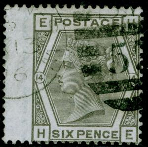SG147, 6d grey plate 14, FINE USED, CDS. Cat £90. HE