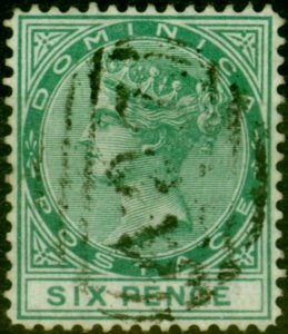 Dominica 1877 6d Green SG8 Fine Used Stamp