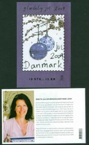Denmark.  Booklet 2009  10 Christmas Seals Mnh. Christmas Tree  Decorations