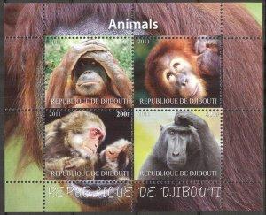 Djibouti 2011 Animals Monkeys (3) MNH Cinderella !