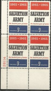 US 1267  MNH,  10  PLATE BLOCK WHOLESALE LOT,  SALVATION ARMY