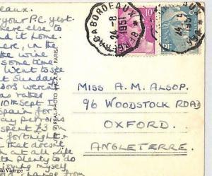 AN336 1951 FRANCE RAILWAY *Bergerac a Bordeaux* CONVOYEUR CDS Postcard Oxford