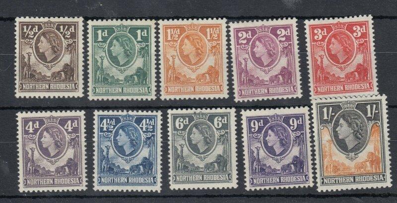 Northern Rhodesia QEII 1953 Set To 1/- SG61/70 MNH J9642