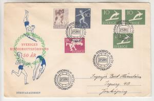 SWEDEN, 1953 Athletic Association set of 4 + 10o. pair, First Day cover