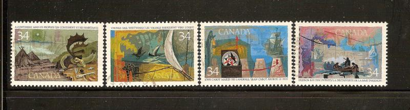 CANADIAN SET ON EXPLORATION OF CANADA -1 #1104-1107 USED STAMPS  LOT#245